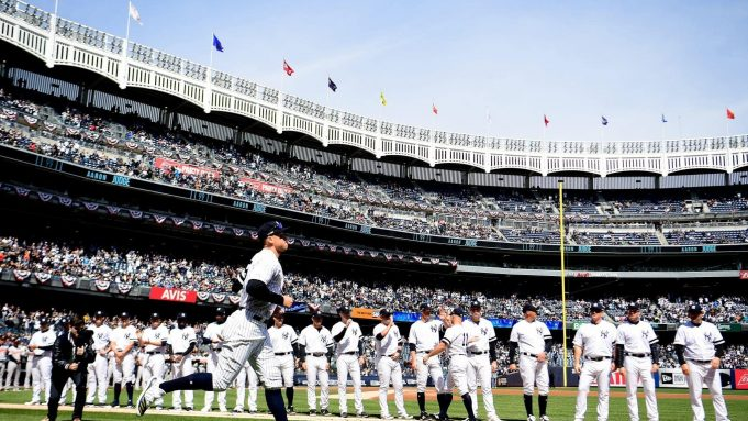 NEW YORK, NEW YORK - MARCH 28: Aaron Judge #99 of the New York Yankees takes the field before the game against the Baltimore Orioles on Opening Day at Yankee Stadium on March 28, 2019 in the Bronx borough of New York City.