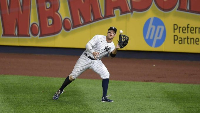 NEW YORK, NEW YORK - AUGUST 03: Aaron Judge #99 of the New York Yankees makes an out on a fly ball in the right field during the fifth inning against the Philadelphia Phillies at Yankee Stadium on August 03, 2020 in the Bronx borough of New York City.