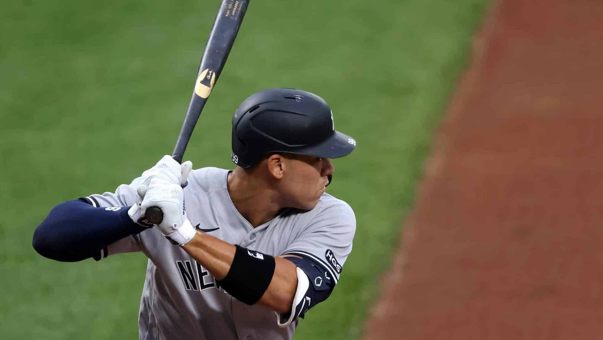 BALTIMORE, MARYLAND - JULY 30: Aaron Judge #99 of the New York Yankees bats against the Baltimore Orioles in the ninth inning at Oriole Park at Camden Yards on July 30, 2020 in Baltimore, Maryland.