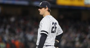 NEW YORK, NEW YORK - OCTOBER 18: DJ LeMahieu #26 of the New York Yankees looks on against the Houston Astros in game five of the American League Championship Series at Yankee Stadium on October 18, 2019 in New York City.