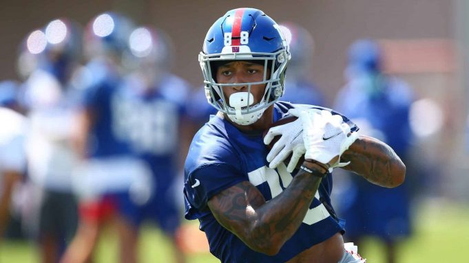 EAST RUTHERFORD, NEW JERSEY - AUGUST 23: Evan Engram #88 of the New York Giants runs drills at NY Giants Quest Diagnostics Training Center on August 23, 2020 in East Rutherford, New Jersey.