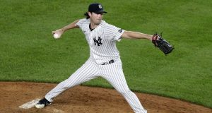 NEW YORK, NEW YORK - AUGUST 19: Gerrit Cole #45 of the New York Yankees pitches during the sixth inning against the Tampa Bay Rays at Yankee Stadium on August 19, 2020 in New York City.