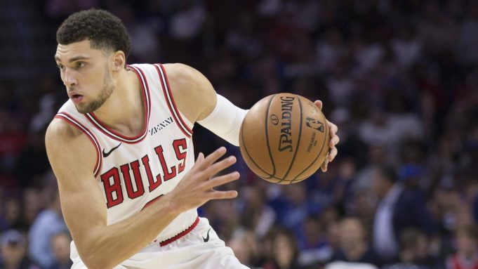 PHILADELPHIA, PA - OCTOBER 18: Zach LaVine #8 of the Chicago Bulls dribbles the ball against the Philadelphia 76ers at the Wells Fargo Center on October 18, 2018 in Philadelphia, Pennsylvania. NOTE TO USER: User expressly acknowledges and agrees that, by downloading and or using this photograph, User is consenting to the terms and conditions of the Getty Images License Agreement.