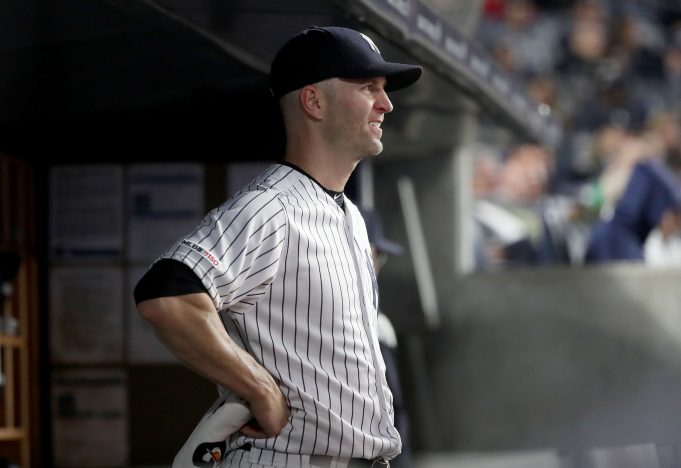 NEW YORK, NEW YORK - MAY 09: J.A. Happ #34 of the New York Yankees reacts in the dugout after he was pulled from the game in the sixth inning against the Seattle Mariners at Yankee Stadium on May 09, 2019 in the Bronx borough of New York City.
