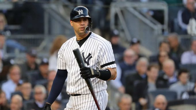 NEW YORK, NEW YORK - OCTOBER 15: Gary Sanchez #24 of the New York Yankees reacts after striking out swinging during the fourth inning against the Houston Astros in game three of the American League Championship Series at Yankee Stadium on October 15, 2019 in New York City.