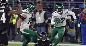 BALTIMORE, MARYLAND - DECEMBER 12: Wide Receiver Vyncint Smith #17 of the New York Jets runs with the ball during the second quarter against the Baltimore Ravens at M&T Bank Stadium on December 12, 2019 in Baltimore, Maryland.