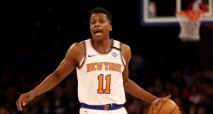 NEW YORK, NEW YORK - FEBRUARY 12: Frank Ntilikina #11 of the New York Knicks directs his teammates in the second half against the Washington Wizards at Madison Square Garden on February 12, 2020 in New York City.The Washington Wizards defeated the New York Knicks 114-96. NOTE TO USER: User expressly acknowledges and agrees that, by downloading and or using this photograph, User is consenting to the terms and conditions of the Getty Images License Agreement.