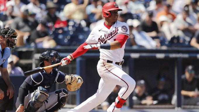WEST PALM BEACH, FLORIDA - MARCH 12: Juan Soto #22 of the Washington Nationals at bat against the New York Yankees during a Grapefruit League spring training game at FITTEAM Ballpark of The Palm Beaches on March 12, 2020 in West Palm Beach, Florida.