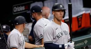 BALTIMORE, MARYLAND - JULY 30: Aaron Judge #99 of the New York Yankees waits to hit against the Baltimore Orioles in the ninth inning at Oriole Park at Camden Yards on July 30, 2020 in Baltimore, Maryland.