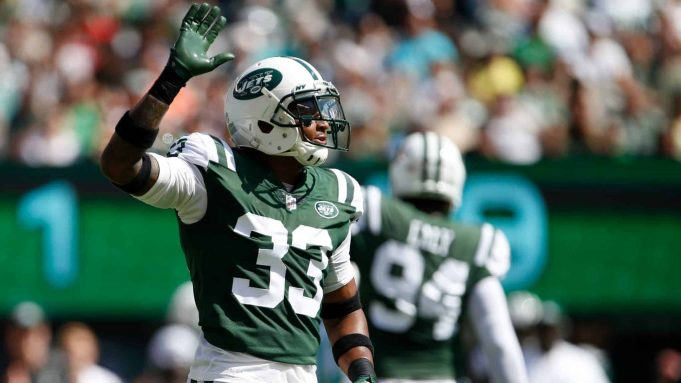 EAST RUTHERFORD, NJ - SEPTEMBER 24: Jamal Adams #33 of the New York Jets reacts against the Miami Dolphins during the first half of an NFL game at MetLife Stadium on September 24, 2017 in East Rutherford, New Jersey.