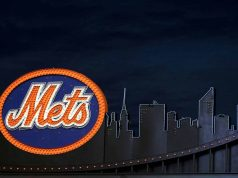 FLUSHING, NY - APRIL 13: A Mets logo inside the ground is seen on opening day at Citi Field on April 13, 2009 in the Flushing neighborhood of the Queens borough of New York City. This is the first regular season MLB game being played at the new venue which replaced Shea Stadium as the Mets home field. Zack Scott