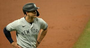 ST PETERSBURG, FLORIDA - AUGUST 08: Giancarlo Stanton #27 of the New York Yankees looks on during Game 1 of a doubleheader against the Tampa Bay Rays at Tropicana Field on August 08, 2020 in St Petersburg, Florida.