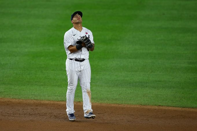 NEW YORK, NEW YORK - AUGUST 16: Gleyber Torres #25 of the New York Yankees celebrate after defeating the Boston Red Sox4-1 at Yankee Stadium on August 16, 2020 in New York City.