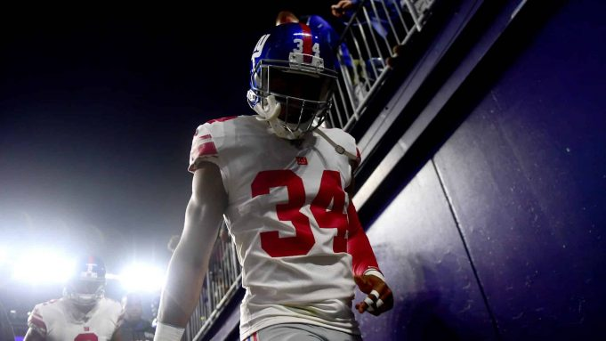 FOXBOROUGH, MASSACHUSETTS - OCTOBER 10: Grant Haley #34 of the New York Giants walks back to the locker room prior to the game against the New England Patriots at Gillette Stadium on October 10, 2019 in Foxborough, Massachusetts.