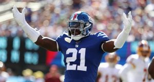 EAST RUTHERFORD, NEW JERSEY - SEPTEMBER 29: Jabrill Peppers #21 of the New York Giants celebrates after breaking up a touchdown catch against Jeremy Sprinkle #87 of the Washington Redskins during their game at MetLife Stadium on September 29, 2019 in East Rutherford, New Jersey.