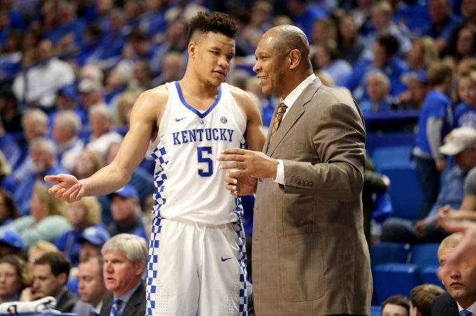 LEXINGTON, KY - FEBRUARY 28: Assistant coach Kenny Payne, talks with Kevin Knox #5 of the Kentucky Wildcats during the game against the Ole Miss Rebels at Rupp Arena on February 28, 2018 in Lexington, Kentucky.