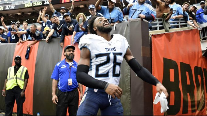 CLEVELAND, OHIO - SEPTEMBER 08: Cornerback Logan Ryan #26 of the Tennessee Titans celebrates after the Titans defeated the Cleveland Browns at FirstEnergy Stadium on September 08, 2019 in Cleveland, Ohio. The Titans defeated the Browns 43-13.