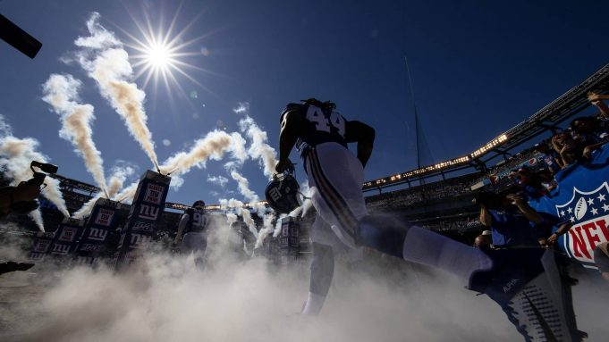 EAST RUTHERFORD, NEW JERSEY - SEPTEMBER 29: Linebacker Markus Golden #44 of the New York Giants takes the field for the game against the Washington Redskins at MetLife Stadium on September 29, 2019 in East Rutherford, New Jersey.