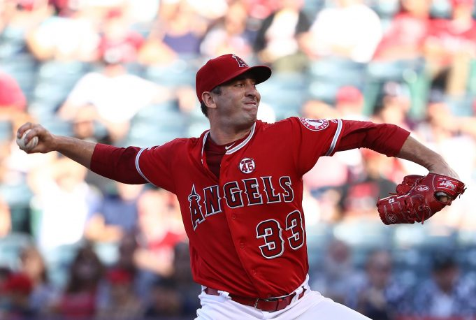 ANAHEIM, CALIFORNIA - JULY 13: Pitcher Matt Harvey #33 of the Los Angeles Angels of Anaheim pitches in the first innning of the MLB game against the Seattle Mariners at Angel Stadium of Anaheim on July 13, 2019 in Anaheim, California.