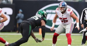 EAST RUTHERFORD, NEW JERSEY - NOVEMBER 10: Nick Gates #65 of the New York Giants in action against the New York Jsets during their game at MetLife Stadium on November 10, 2019 in East Rutherford, New Jersey.