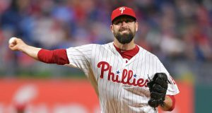 PHILADELPHIA, PA - MAY 03: Pat Neshek #93 of the Philadelphia Phillies delivers a pitch in the eighth inning against the Washington Nationals at Citizens Bank Park on May 3, 2019 in Philadelphia, Pennsylvania.