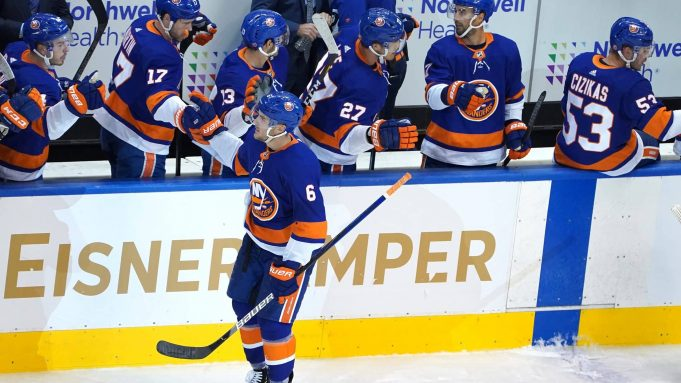 TORONTO, ONTARIO - AUGUST 04: Ryan Pulock #6 of the New York Islanders celebrates with teammates after scoring a goal against the Florida Panthers during the second period in Game Two of the Eastern Conference Qualification Round prior to the 2020 NHL Stanley Cup Playoff at Scotiabank Arena on August 4, 2020 in Toronto, Ontario.