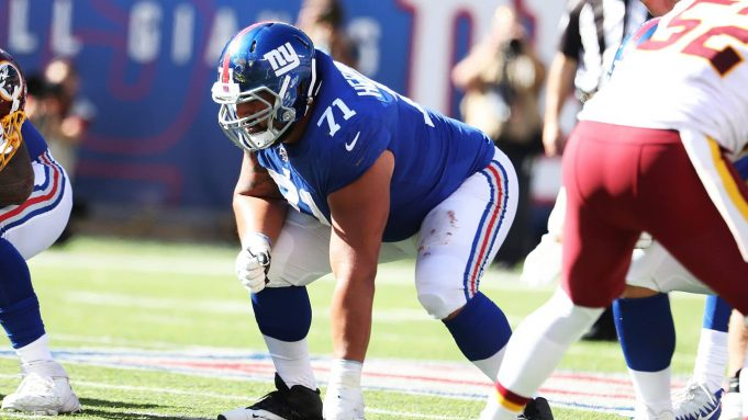 EAST RUTHERFORD, NEW JERSEY - SEPTEMBER 29: Will Hernandez #71 of the New York Giants in action against the Washington Redskins during their game at MetLife Stadium on September 29, 2019 in East Rutherford, New Jersey.