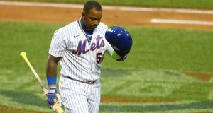 NEW YORK, NEW YORK - JULY 30: Yoenis Cespedes #52 of the New York Mets reacts after striking out in the second inning against the Boston Red Sox at Citi Field on July 30, 2020 in New York City.