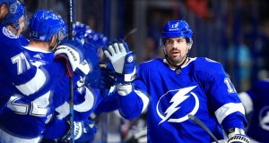 TAMPA, FLORIDA - NOVEMBER 14: Alex Killorn #17 of the Tampa Bay Lightning celebrates a goal during a game against the New York Rangers at Amalie Arena on November 14, 2019 in Tampa, Florida.