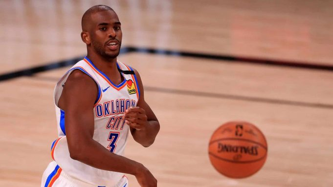 LAKE BUENA VISTA, FLORIDA - SEPTEMBER 02: Chris Paul #3 of the Oklahoma City Thunder passes the ball during the second quarter against the Houston Rockets in Game Seven of the Western Conference First Round during the 2020 NBA Playoffs at AdventHealth Arena at ESPN Wide World Of Sports Complex on September 02, 2020 in Lake Buena Vista, Florida. NOTE TO USER: User expressly acknowledges and agrees that, by downloading and or using this photograph, User is consenting to the terms and conditions of the Getty Images License Agreement.