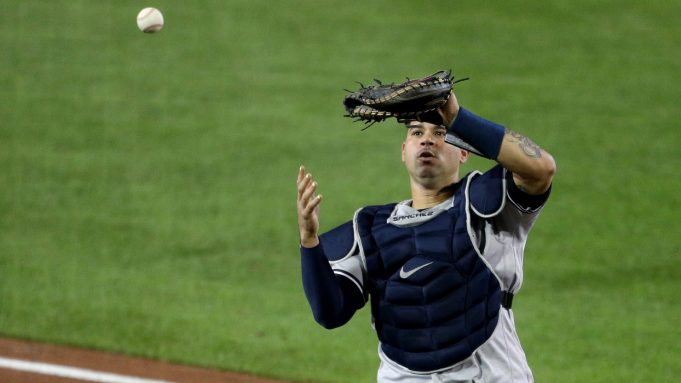 BUFFALO, NEW YORK - SEPTEMBER 08: Gary Sanchez #24 of the New York Yankees reacts while dropping a foul ball hit by Cavan Biggio #8 of the Toronto Blue Jays during the fifth inning at Sahlen Field on September 08, 2020 in Buffalo, New York. The Blue Jays are the home team and are playing their home games in Buffalo due to the Canadian government's policy on coronavirus (COVID-19).