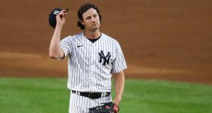 NEW YORK, NEW YORK - AUGUST 31: Gerrit Cole #45 of the New York Yankees reacts in the first inning against the Tampa Bay Rays at Yankee Stadium on August 31, 2020 in New York City.