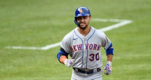 BALTIMORE, MD - SEPTEMBER 02: Michael Conforto #30 of the New York Mets rounds the bases after hitting a two-run home run in the first inning against the Baltimore Orioles at Oriole Park at Camden Yards on September 2, 2020 in Baltimore, Maryland.