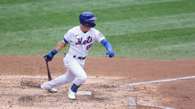 NEW YORK, NEW YORK - AUGUST 13: Andres Gimenez #60 of the New York Mets bats against the Washington Nationals during their game at Citi Field on August 13, 2020 in New York City.