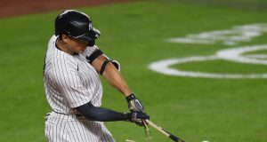 NEW YORK, NEW YORK - SEPTEMBER 15: Giancarlo Stanton #27 of the New York Yankees breaks his bat as he grounds out during the second inning against the Toronto Blue Jays at Yankee Stadium on September 15, 2020 in the Bronx borough of New York City.