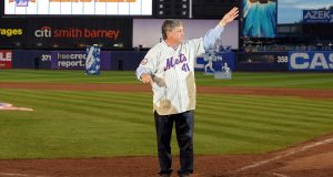 NEW YORK - SEPTEMBER 28: Former Met Tom Seaver thanks fans from the field in a post game ceremony after the last regular season baseball game ever played in Shea Stadium against the Florida Marlins on September 28, 2008 in the Flushing neighborhood of the Queens borough of New York City. The Mets plan to start next season at their new stadium Citi Field after playing in Shea for over 44 years.