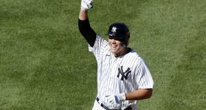 NEW YORK, NEW YORK - AUGUST 30: Gio Urshela #29 of the New York Yankees celebrates his eighth inning game winning base hit against the New York Mets during the first game of a doubleheader at Yankee Stadium on August 30, 2020 in New York City.