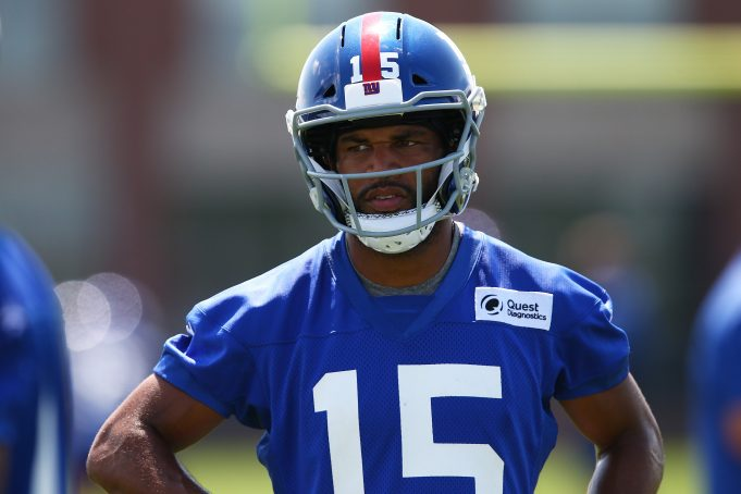 EAST RUTHERFORD, NEW JERSEY - AUGUST 23: Golden Tate #15 of the New York Giants runs drill at NY Giants Quest Diagnostics Training Center on August 23, 2020 in East Rutherford, New Jersey.