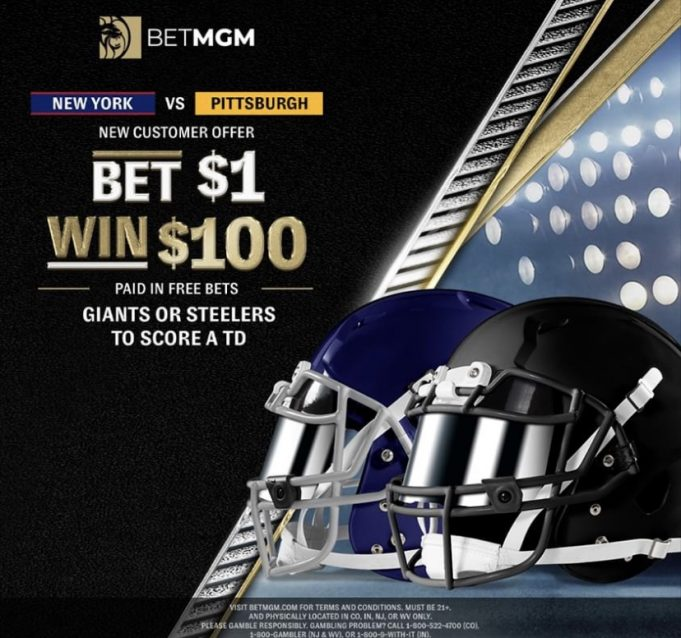 betmgm giants steelers 100-1