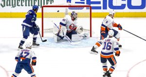 EDMONTON, ALBERTA - SEPTEMBER 09: Semyon Varlamov #40 of the New York Islanders allows a goal on a shot by Nikita Kucherov (not pictured) of the Tampa Bay Lightning in the final seconds of the third period in Game Two of the Eastern Conference Final during the 2020 NHL Stanley Cup Playoffs at Rogers Place on September 09, 2020 in Edmonton, Alberta.