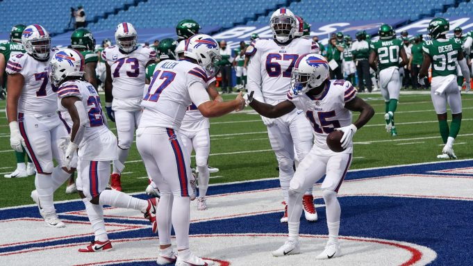 ORCHARD PARK, NEW YORK - SEPTEMBER 13: John Brown #15 of the Buffalo Bills celebrates a touchdown with Josh Allen #17 during the first half against the New York Jets at Bills Stadium on September 13, 2020 in Orchard Park, New York.
