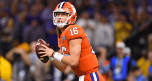 NEW ORLEANS, LA - JANUARY 13: Trevor Lawrence #16 of the Clemson Tigers passes against the LSU Tigers during the College Football Playoff National Championship held at the Mercedes-Benz Superdome on January 13, 2020 in New Orleans, Louisiana.