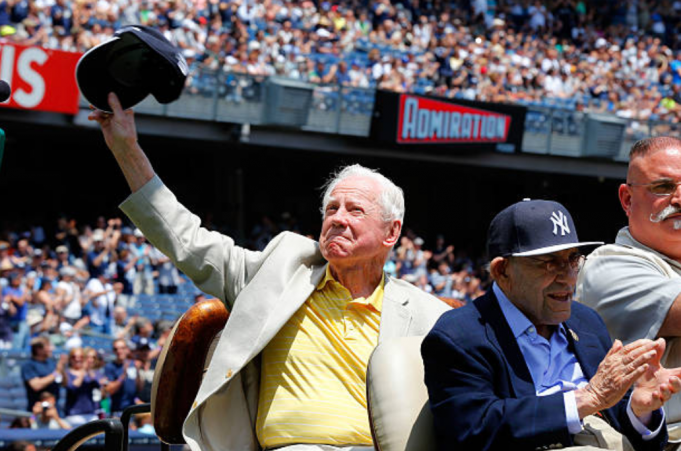 NEW YORK, NY - JUNE 22: Former New York Yankee Whitey Ford is introduced during the teams Old Timers Day prior to a game between the New York Yankees and the Baltimore Orioles at Yankee Stadium on June 22, 2014 in the Bronx borough of New York City. The Orioles defeated the Yankees 8-0.