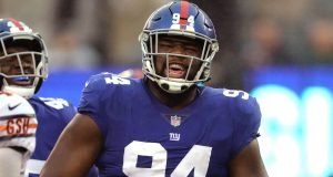 EAST RUTHERFORD, NEW JERSEY - DECEMBER 02: Dalvin Tomlinson #94 of the New York Giants celebrates his third quarter tackled against the Chicago Bears at MetLife Stadium on December 02, 2018 in East Rutherford, New Jersey.