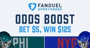 fanduel sportsbook 25-1 odds eagles giants