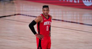 Houston Rockets' Russell Westbrook (0) looks up during the second half of an NBA conference semifinal playoff basketball game against the Los Angeles Lakers.