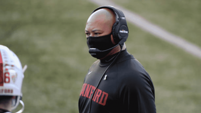 SEATTLE, WA - DECEMBER 05: Stanford Cardinal head coach David Shaw is seen on the sidelines during a PAC12 football game between the Stanford Cardinal and the Washington Huskies on December 5, 2020 at Husky Stadium in Seattle, WA.