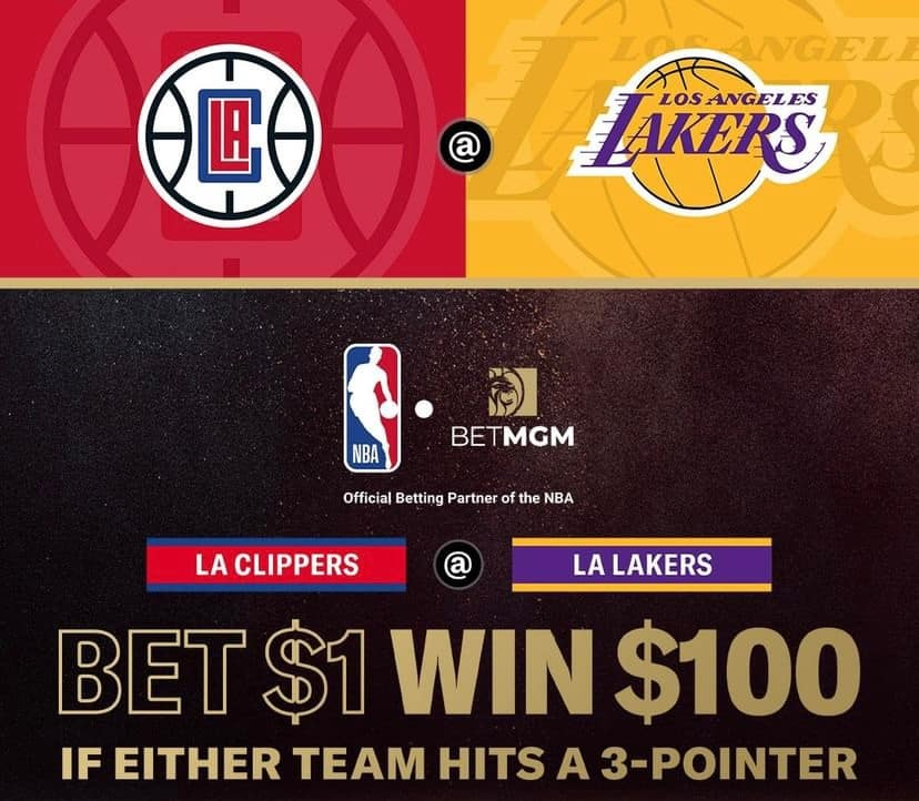 betmgm promo 100-1 odds lakers clippers hitting 3-pointer