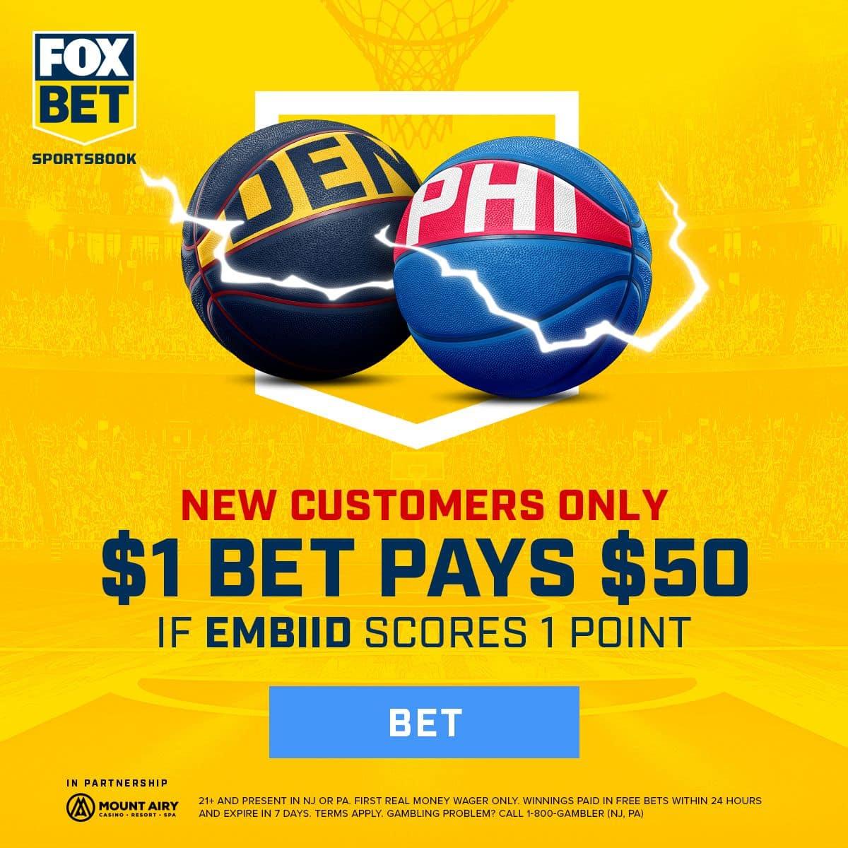 fox bet promo 50-1 odds joel embiid score 1 point