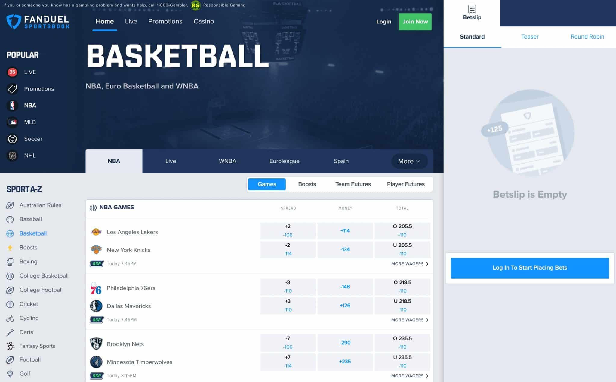 ESNY, FanDuel Sportsbook, Website